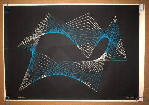 Original Vintage Blacklight Poster Abstract Geometric Lines Psychedelic 1960s