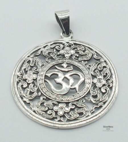 SilverNess Jewellery Om Pendant: 925 Sterling Silver