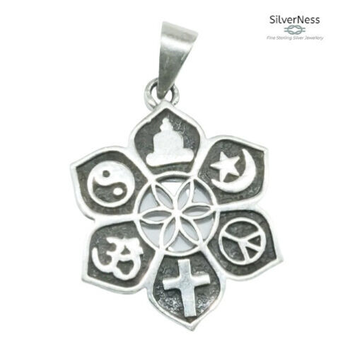 SilverNess Jewellery Lotus with 6 Symbols Pendant: 925 Sterling Silver