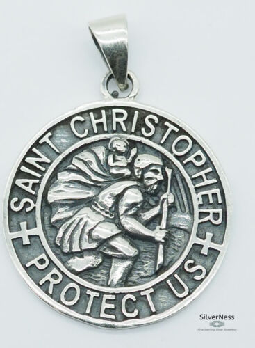 SilverNess Jewellery Saint Christopher Pendant: 925 Sterling Silver