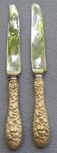 Two Kirk Stieiff Rose Sterling Silver New French Hollow Dinner Knives