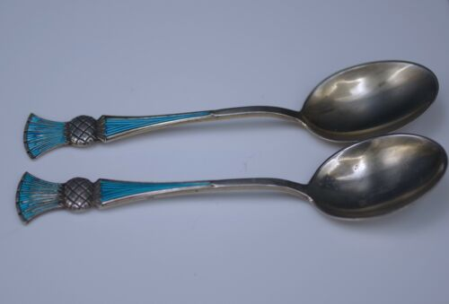 JACOB TOSTRUP NORWAY STERLING SILVER ENAMEL THISTLE SET OF 2 TEASPOONS