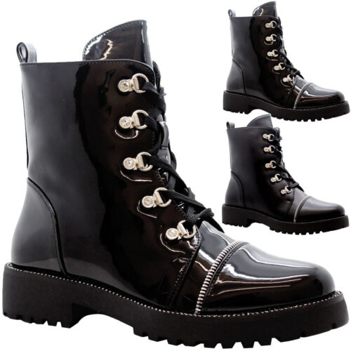 Ladies Ankle Lace Up Biker Boots Womens Chunky Block Heels Punk Hiker Shoes Size
