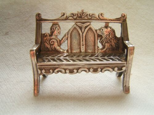 AUSTRIAN SILVER MINIATURE GOTHIC BENCH WITH LION & ANGEL