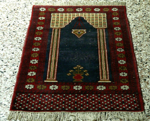 PRL) TAPPETO AFGANO PREGHIERA AFGHANISTAN ANNODATO A MANO 1970 '70s CARPET TAPIS