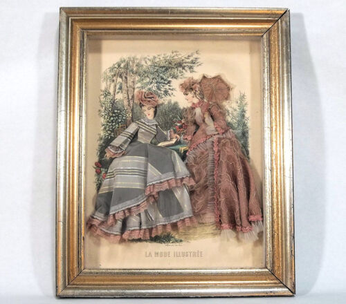 Pair Antique Fashion Plate Shadow Boxes with Exquisitely Dressed Figures