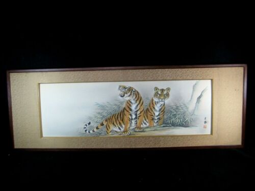 ANTIQUE JAPANESE  SHOWA ERA SIGNED FRAMED PAINTING OF TWO TIGERS WITH BAMBOO
