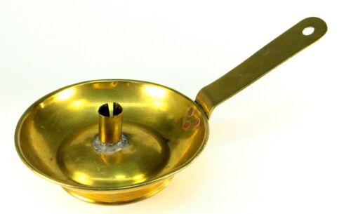~Antique ea.1800's Brass Large Drip Pan Handled Chamber Candlestick American 12""