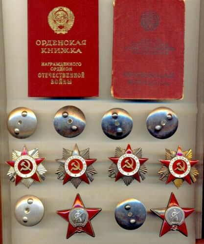 Soviet Badge Banner Medals 2 Order of the Red Star 4 GPW Documents  (1438)Medals, Pins & Ribbons - 165608