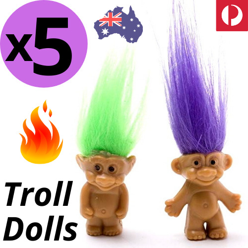 🔥 5pcs TROLL DOLLS Crazy Hair Figurine Kids Toy Party Decoration Good Luck Doll