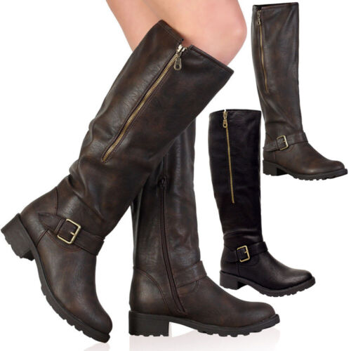 Ladies Knee High Calf Boots Womens Block Heels Fleece Lined Fur Biker Shoes Size