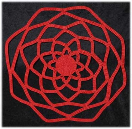 """Red Lace Handmade Coiled Zulu Telephone Wire Plate/Basket #1 - 13"""" diameter"""
