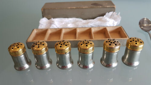 ANTIQUE SILVER PLATED SALTS WITH BRASS LIDS. 6. ALL BOXED, GOOD CONDITION.