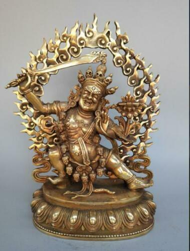 Collection Chinese exquisite pure brass Manjusri Buddha statue