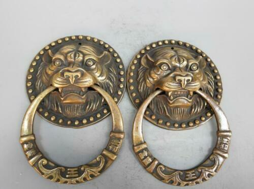 Collection Chinese pure brass tiger head door rings arts crafts statue