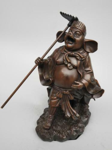Collection China seiko carving Pure copper Pig eight quit statue