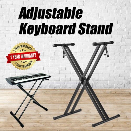 Folding Double Braced Adjustable X Style Music Piano Keyboard Stand Height AU