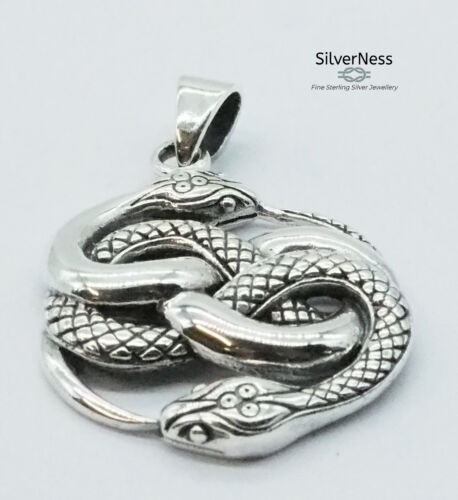SilverNess Jewellery Ouroboros Snake Pendant: 925 Sterling Silver