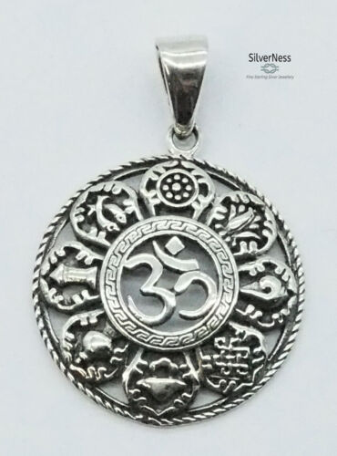 SilverNess Jewellery Om Centre Pendant: 925 Sterling Silver