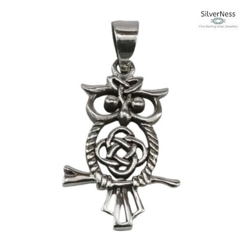 SilverNess Jewellery Owl Pendant: 925 Sterling Silver