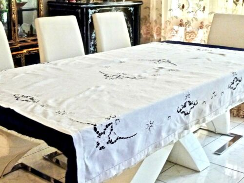 WONDERFUL ANTIQUE HAND CRAFTED WHITE LINEN TABLECLOTH  130 X 180 CM. C 1930'S