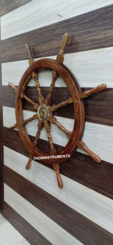 Nautical Wooden Ship Wheel Boat Steering Collectible Wall Decor