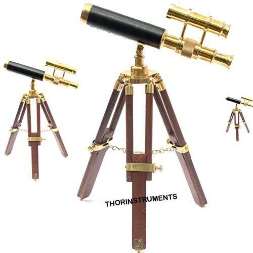 Nautical  Brass Telescope With Wooden Tripod Table Stand Collectible Desk Decor