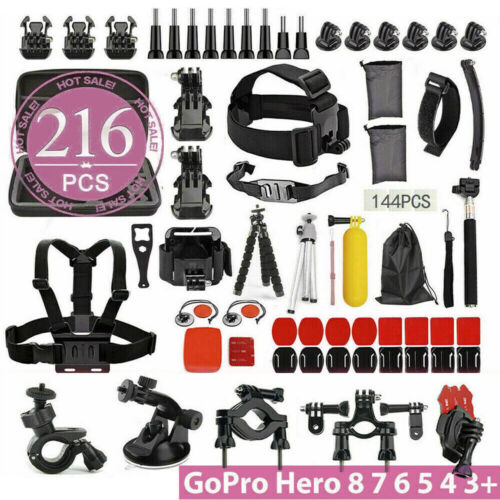 216 pcs Accessories Pack Case Chest Head Floating Monopod GoPro Hero 8 7 6 5 4