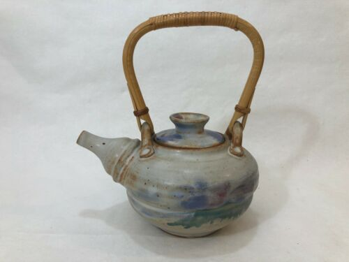 "Vintage Hand Crafted Pottery Teapot W/Bamboo Handle, Signed, 9"" Tall & 8"" Wide"