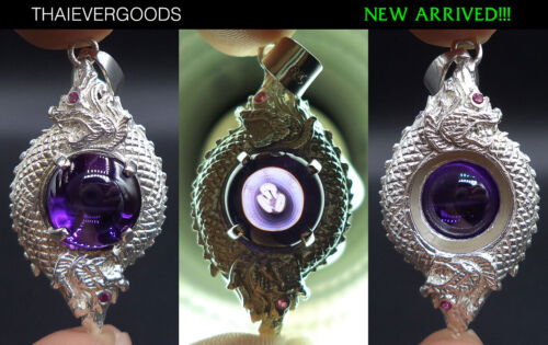 SILVER PENDANT NAGA GEM PURPLE REAL THAI AMULET GOOD FORTUNE POWERFUL