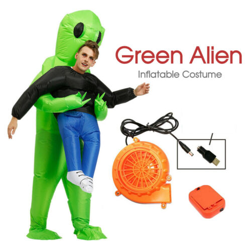 NEW Green Alien Inflatable Costume Scary Halloween Blow Up Suits Party Dress AU