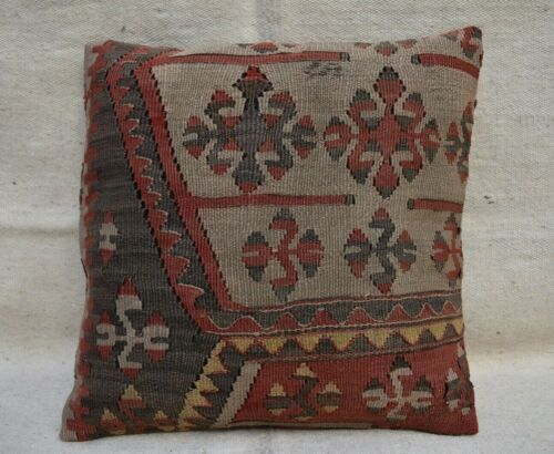 Vintage Kilim Pillow Cases 17''x17'' Wool Ethnic Oriental Turkish Cushion Cover