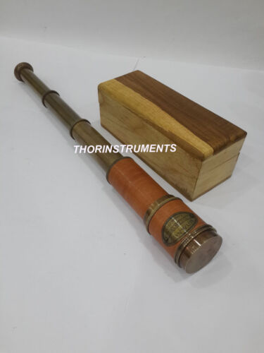 "Brass Royal Navy Red Leather London 1915 16"" Telescope With Natural Wooden  Box"