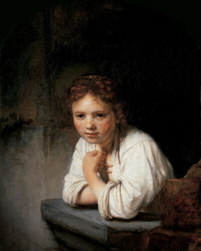 Rembrandt Girl in the Window Fine Art Decoration CANVAS Print Poster Small 8x10