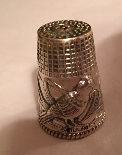 "Vtg Sterling Silver 1"" Hand Chased Sewing Thimble Quail Bob White Bird"