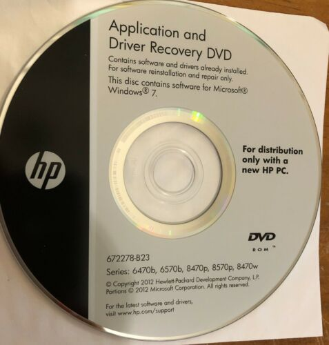 Driver Recovery DVD HP 6470b 6570b 8570p 8470w 8470p WIN7 - Brand New