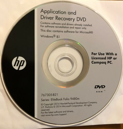 Driver Recovery DVD HP WIN 8.1 for EliteBook Folio 9480m - Brand New