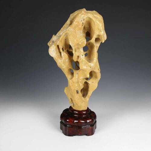 ANTIQUE CHINESE GONGSHI SCHOLAR'S ROCK WITH CARVED WOOD BASE CHINA