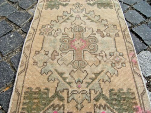 Small Low Pile Oushak Rug 16'' X 35''  Muted_Color  Anatolian Doormat Area Rug
