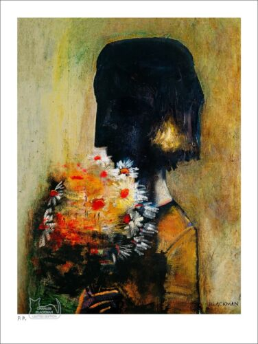 """CHARLES BLACKMAN """"Girl With Yellow Bouquet"""" Printers Proof Print PP 38cm x 28cm"""
