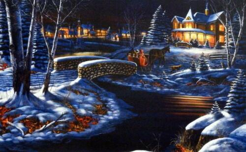 """Jim Hansel """"Over the River"""" Horse and Sleigh Print  12"""" x 7.5"""""""