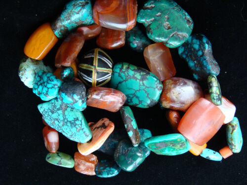 ANCIENT MUNDIGAK AFGHAN BANDED CARNELIAN AGATE &TIBETIAN TURQUOISE BEAD NECKLACE