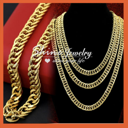 18K YELLOW GOLD GF MENS 10MM CURB CHAIN SOLID PATTERN RINGS 18-30INCH NECKLACE
