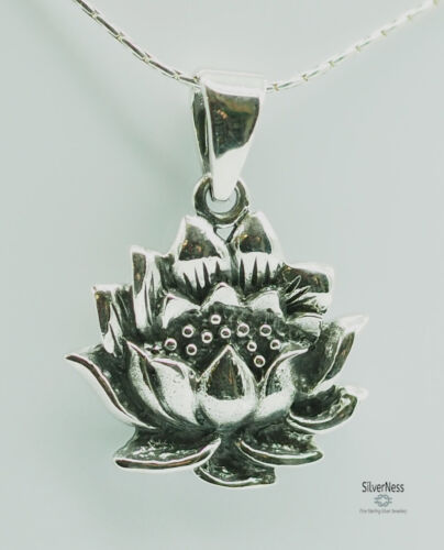 SilverNess Jewellery Lotus Flower Pendant: 925 Sterling Silver