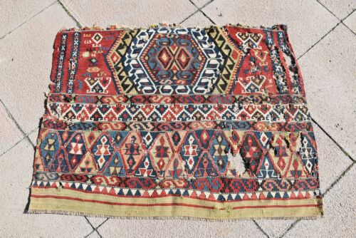 Masterpiece  Antique Rare Awesome Collector's Piece Anatolian Fragment Kilim Rug