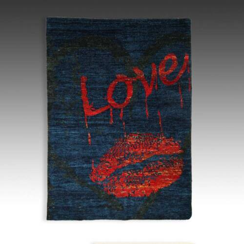 CONTEMPORARY SILK LOVE RUG HOT LIPS DESIRE POP CULTURE CARPETS TEXTILES 20THC.