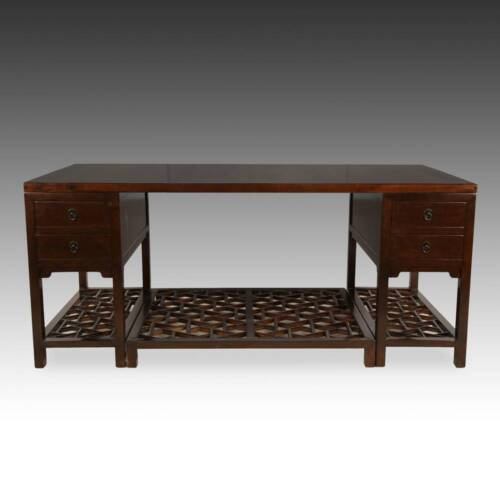 CONTEMPORARY CHINESE PARTNER'S DESK WALNUT YUNAN MARBLE FURNITURE HEBEI CHINA