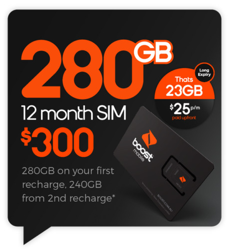 Boost Mobile $300 Prepaid SIM Starter Kit 240 GB Data 12 Months Expiry <br/> SIM EXPIRY 06-10-2022