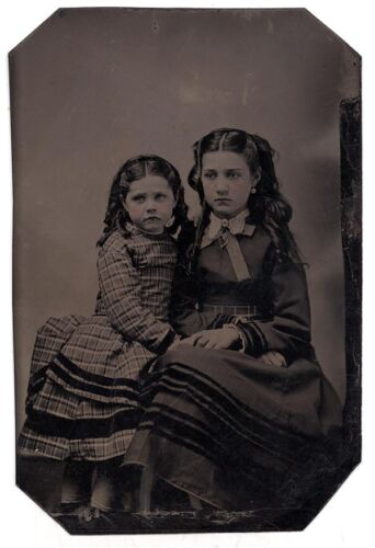 Exceptional Tintype Photo of Two Young Girls