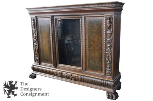 Massive Antique Renaissance Revival Walnut Carved Knockdown Bookcase Armoire